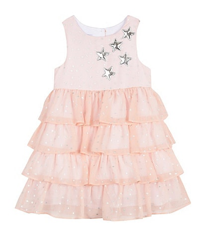 Pippa & Julie Little Girls 2T-6X Foil-Star Tiered Chiffon Fit-And-Flare Dress