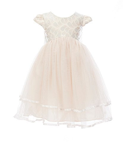 Pippa & Julie Little Girls 2T-6X Jacquard/Tiered Mesh Fit-And-Flare Dress