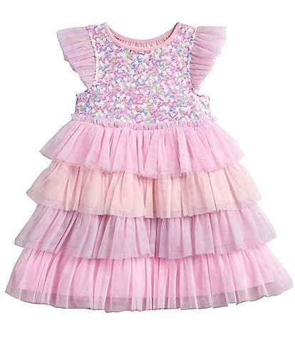 Pippa & Julie Little Girls 2T-6X Sequin/Tiered Tutu A-Line Dress