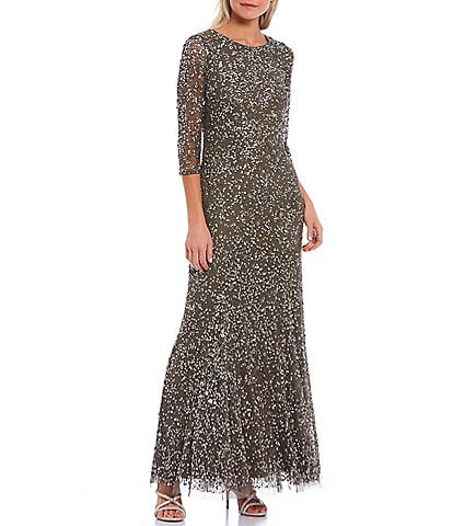 Pisarro Nights 3/4 Sleeve Allover Sequin Beaded Column Gown
