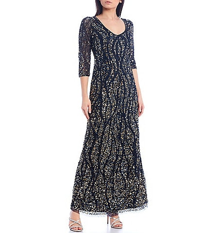 Pisarro Nights 3/4 Sleeve Beaded Mesh Gown