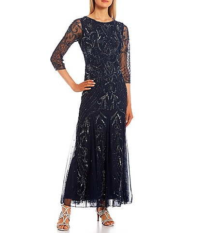 Pisarro Nights 3/4 Sleeve Jewel Neck Long Mesh Beaded Gown with Godets