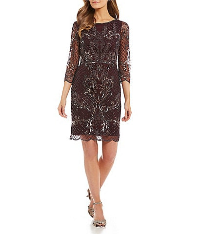 Pisarro Nights Beaded Baroque Inspired Scalloped Hem Sheath Dress