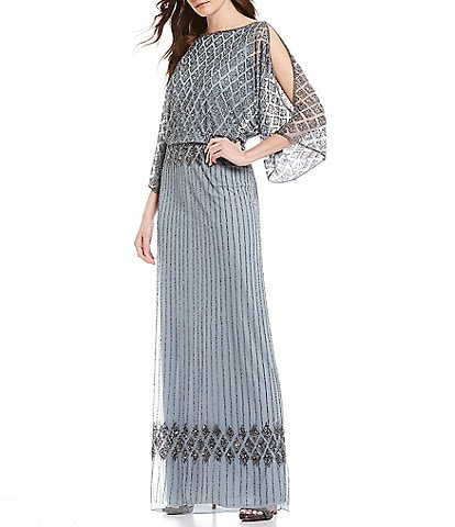 Pisarro Nights Beaded Bodice Blouson Gown