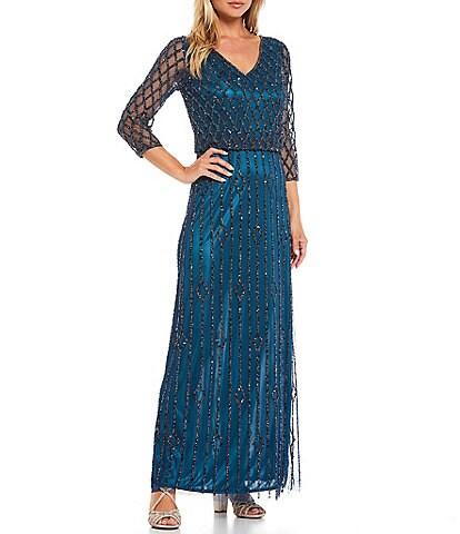 Pisarro Nights Beaded Blouson V-Neck 3/4 Sleeve Long Dress