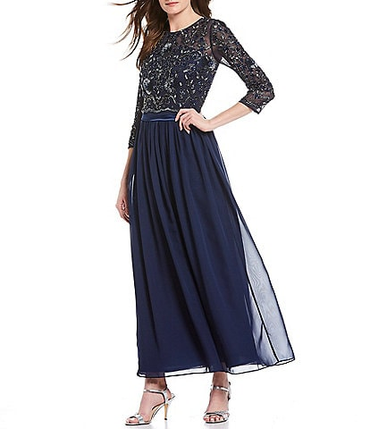 Pisarro Nights Beaded Bodice 3/4 Sleeve Gown