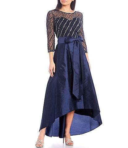 Pisarro Nights Beaded Bodice 3/4 Sleeve Tie Waist Hi-Low Taffeta Ball Gown