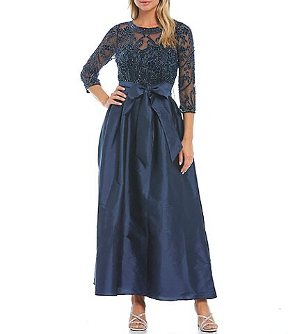 Pisarro Nights Beaded Bodice Jewel Neck Taffeta Ball Gown