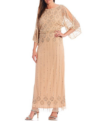 Pisarro Nights Beaded Cold Shoulder Blouson Gown