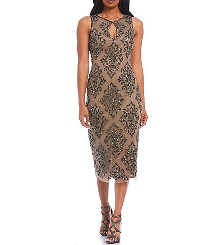 Pisarro Nights Beaded Key Hole Neck Sleeveless Midi Sheath Dress