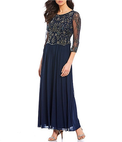 Pisarro Nights Beaded Mesh Mock 3/4 Illusion Sleeve Two-Piece Dress