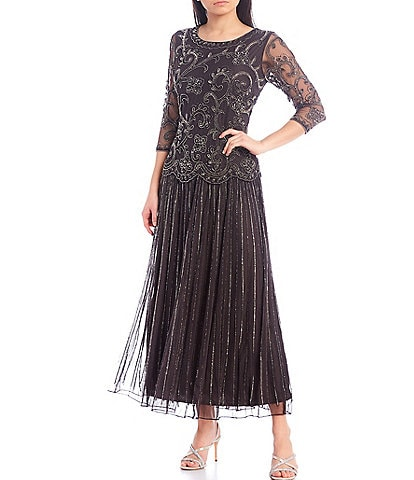 Pisarro Nights Intricate Beaded Illusion Sleeve A-line Chiffon Skirted Dress