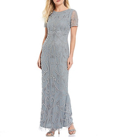 Pisarro Nights Beaded Scroll Motif Short Sleeve Gown