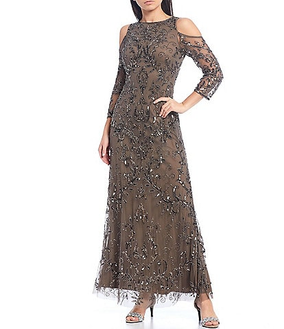 Pisarro Nights Beaded Sequin Cold Shoulder 3/4 Sleeve A-line Gown