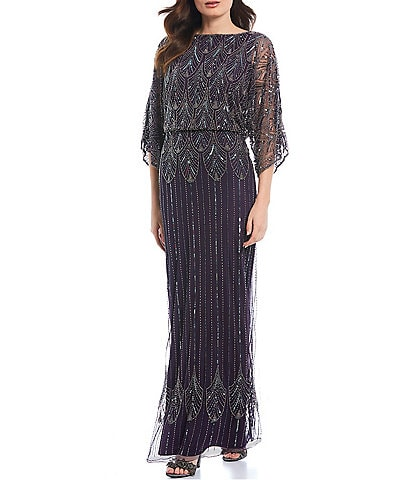 Pisarro Nights Boat Neck Beaded Mesh Blouson Gown