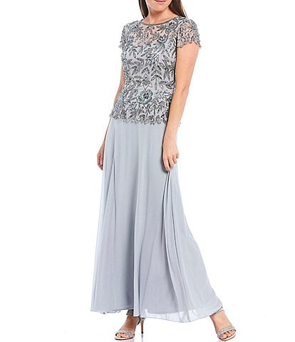 Pisarro Nights Floral Vines Beaded Peplum Flounce Bodice Short Illusion Sleeve A-Line Chiffon Gown
