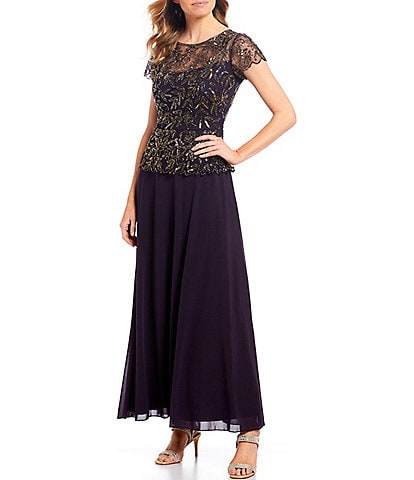 Pisarro Nights Chiffon Beaded Bodice Mock Two-Piece Gown