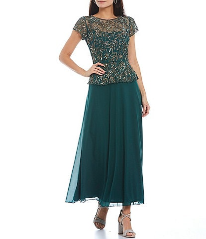 Pisarro Nights Floral Short Sleeve Round Neck Beaded Bodice A-Line Long Chiffon Gown