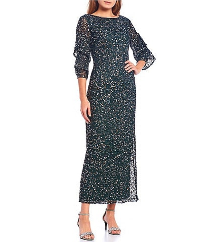 Pisarro Nights Flutter Sleeve Sequined Mesh Gown