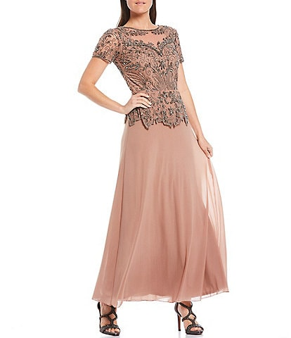 Pisarro Nights Illusion Beaded Peplum Bodice Short Sleeve A-line Chiffon Skirted Gown