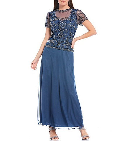 Pisarro Nights Illusion Beaded Scallop Hem Bodice A-line Chiffon Skirted Ankle Length Gown