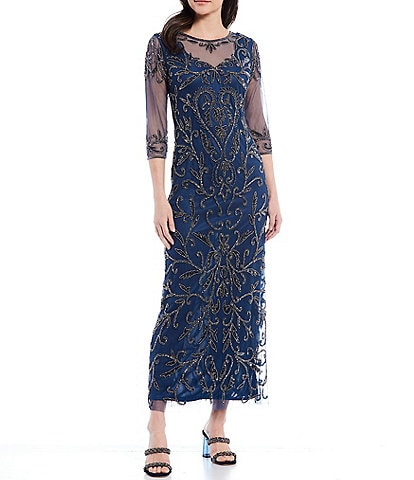 Pisarro Nights Illusion Neck Beaded Mesh Gown