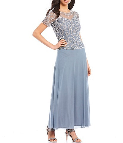 Pisarro Nights Illusion Neck Short Sleeve Beaded Chiffon Gown