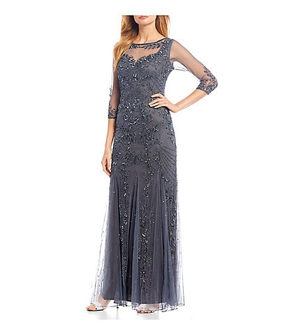 Pisarro Nights Illusion Sweetheart Neckline Beaded Gown