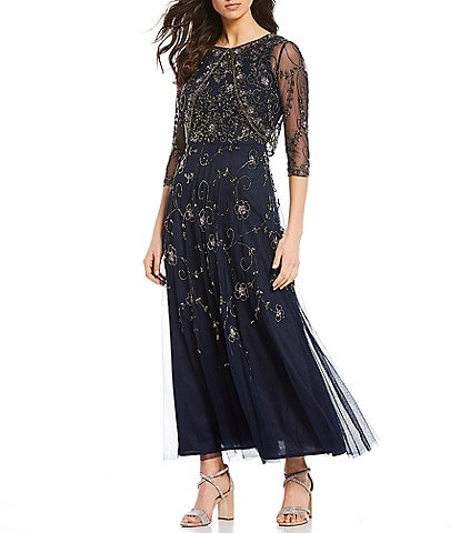 Pisarro Nights Mesh Beaded A-Line Jacket Dress