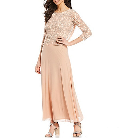 Pisarro Nights Scattered Sequin Bodice 3/4 Illusion Sleeve Chiffon Ankle Length Gown