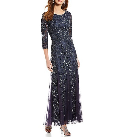 e47fd7d12876 Pisarro Nights Petite 3 4 Sleeve Beaded Lace Gown