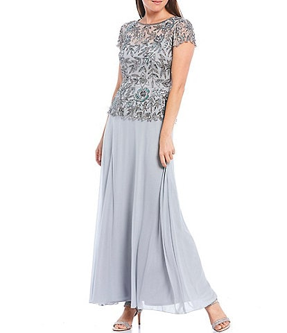Pisarro Nights Petite Floral-Beaded Peplum Flounce Bodice Chiffon Skirted Gown