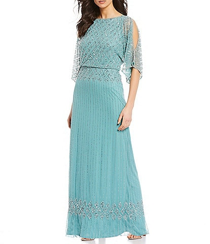 Pisarro Nights Petite Size Beaded Bodice Cold Shoulder Blouson Gown