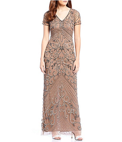 Pisarro Nights Petite Size V-Neck Beaded Gown