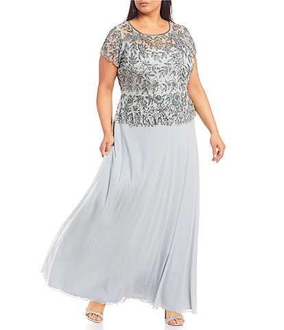 Pisarro Nights Plus Size Floral Beaded Short Sleeve Mock 2-Piece Gown