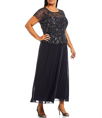 Pisarro Nights Plus Size Floral Vines Jewel Neck Beaded Short Sleeve Peplum Flounce Bodice Chiffon Skirted Dress
