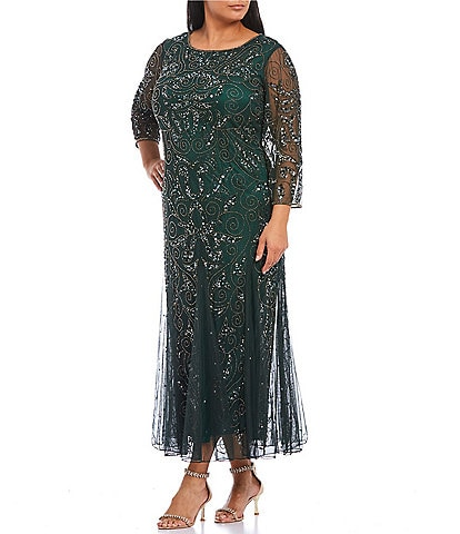 Pisarro Nights Plus Size 3/4 Sleeve Beaded Gown
