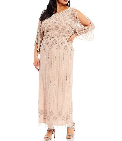 Pisarro Nights Plus Size 3/4 Cold Shoulder Boat Neck Beaded Blouson Gown