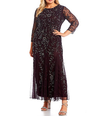 Pisarro Nights Plus Size 3/4 Sleeve Boat Neck Beaded A-Line Gown