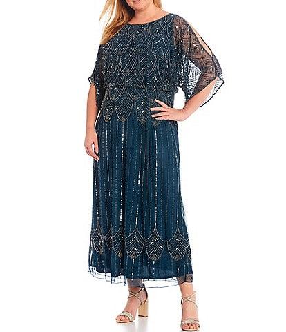 Pisarro Nights Plus Size Beaded Blouson Cold Shoulder Gown