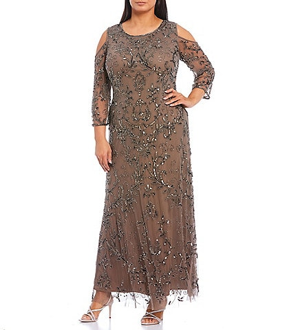 Pisarro Nights Plus Size Beaded Scoop Neck 3/4 Cold Shoulder Sleeve A-Line Gown