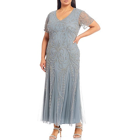 Pisarro Nights Plus Size Beaded V-Neck Short Sleeve Gown