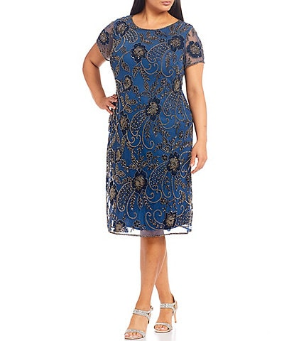 Pisarro Nights Plus Size Short Floral Beaded Midi Sheath Dress