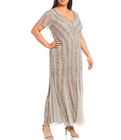 Pisarro Nights Plus Size V-Neck Short Sleeve Sequin Gown