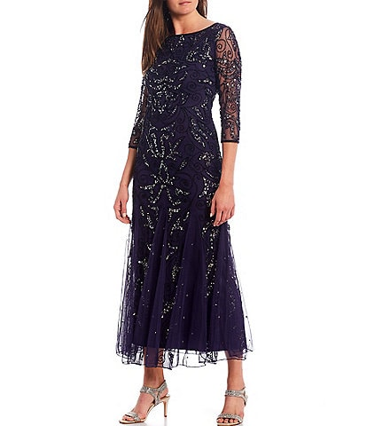 Pisarro Nights Sequin & Beaded Boat Neck Gown