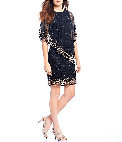 Pisarro Nights Sequin Beaded Popover Sheath Dress