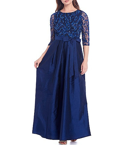 Pisarro Nights Sequin Bodice 3/4 Illusion Sleeve Tie Waist Taffeta Tea Length Gown