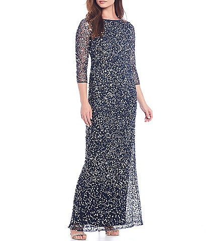 Pisarro Nights Sequin Scoop Back 3/4 Sleeve Gown