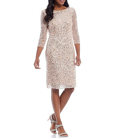 Pisarro Nights Sequin 3/4 Sleeve Cowl Back Dress