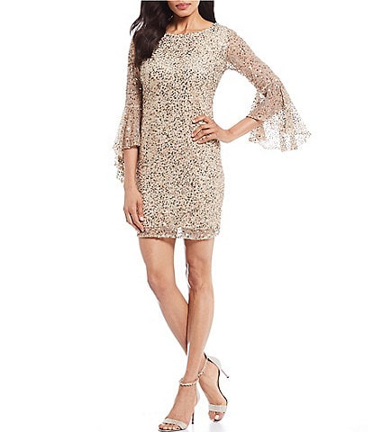 Pisarro Nights Allover Sequin Mesh Boat Neck Bell Sleeve Sheath Dress